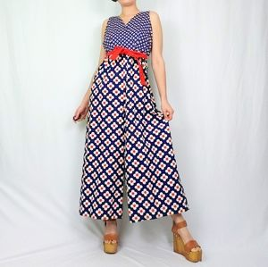 Vintage Saks Fifth Avenue flower print jumpsuit